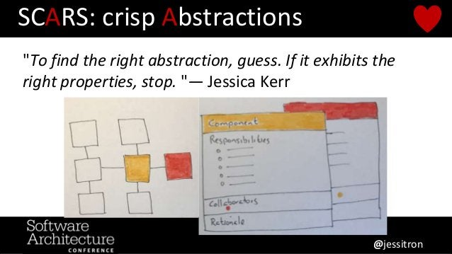 """SCARS: crisp Abstractions """"To find the right abstraction, guess. If it exhibits the right properties, stop. """"— Jessica Ker..."""