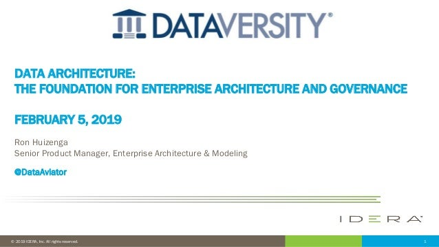 1© 2019 IDERA, Inc. All rights reserved. DATA ARCHITECTURE: THE FOUNDATION FOR ENTERPRISE ARCHITECTURE AND GOVERNANCE FEBR...