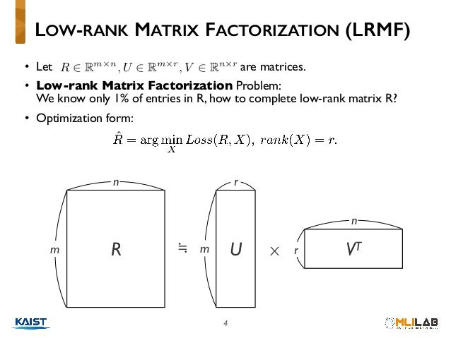 4 • Let are matrices. • Low-rank Matrix Factorization Problem:  We know only 1% of entries in R, how to complete low-rank...