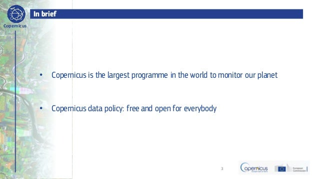 BDVe Webinar Series - Copernicus - Startup Programme (Francesco Barbato) Slide 3