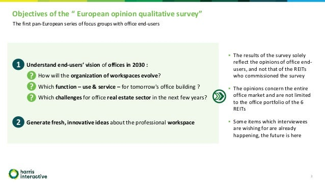 """Objectives of the """" European opinion qualitative survey"""" 3 ▪ Understand end-users' vision of offices in 2030 : – How will ..."""