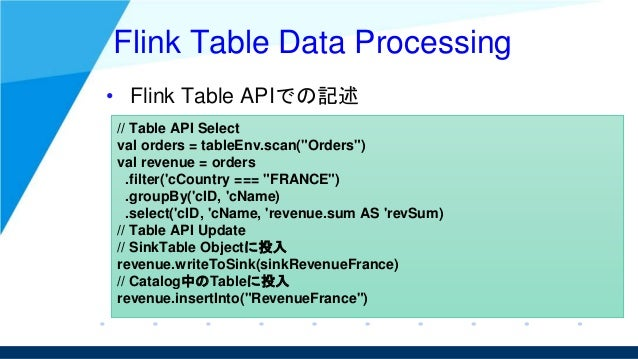 """Flink Table Data Processing • Flink Table APIでの記述 // Table API Select val orders = tableEnv.scan(""""Orders"""") val revenue = o..."""