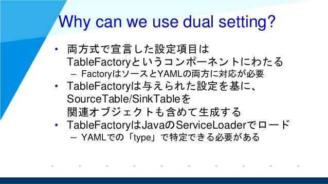 Why can we use dual setting? • 両方式で宣言した設定項目は TableFactoryというコンポーネントにわたる – FactoryはソースとYAMLの両方に対応が必要 • TableFactoryは与えられた設定...