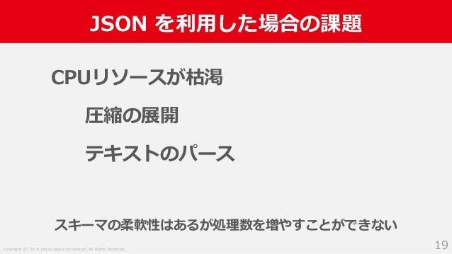 Copyright (C) 2019 Yahoo Japan Corporation. All Rights Reserved. JSON を利用した場合の課題 19 CPUリソースが枯渇 圧縮の展開 テキストのパース スキーマの柔軟性はあるが...