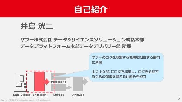 Copyright (C) 2019 Yahoo Japan Corporation. All Rights Reserved. 自己紹介 2 井島 洸二 ヤフー株式会社 データ&サイエンスソリューション統括本部 データプラットフォーム本部デー...