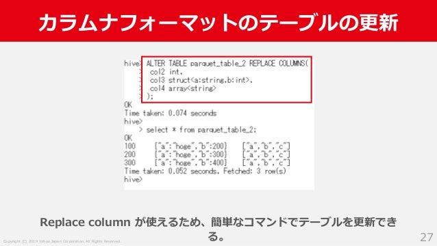Copyright (C) 2019 Yahoo Japan Corporation. All Rights Reserved. カラムナフォーマットのテーブルの更新 27 Replace column が使えるため、簡単なコマンドでテーブルを...