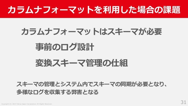 Copyright (C) 2019 Yahoo Japan Corporation. All Rights Reserved. カラムナフォーマットを利用した場合の課題 31 カラムナフォーマットはスキーマが必要 事前のログ設計 変換スキーマ...
