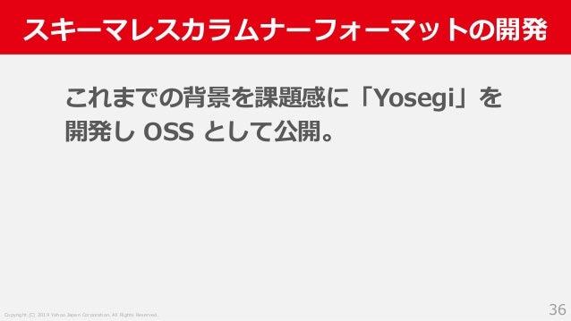 Copyright (C) 2019 Yahoo Japan Corporation. All Rights Reserved. スキーマレスカラムナーフォーマットの開発 36 これまでの背景を課題感に「Yosegi」を 開発し OSS として...