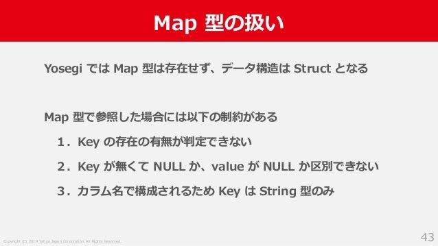 Copyright (C) 2019 Yahoo Japan Corporation. All Rights Reserved. Map 型の扱い 43 Yosegi では Map 型は存在せず、データ構造は Struct となる Map 型で...
