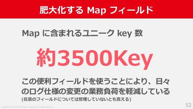 Copyright (C) 2019 Yahoo Japan Corporation. All Rights Reserved. 肥大化する Map フィールド 52 この便利フィールドを使うことにより、日々 のログ仕様の変更の業務負荷を軽減し...