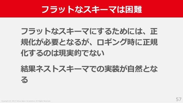 Copyright (C) 2019 Yahoo Japan Corporation. All Rights Reserved. フラットなスキーマは困難 57 フラットなスキーマにするためには、正 規化が必要となるが、ロギング時に正規 化する...