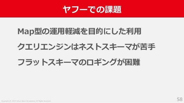Copyright (C) 2019 Yahoo Japan Corporation. All Rights Reserved. ヤフーでの課題 58 Map型の運用軽減を目的にした利用 クエリエンジンはネストスキーマが苦手 フラットスキーマの...