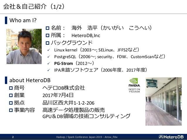 会社&自己紹介(1/2) ▌Who am I?  名前: 海外 浩平(かいがい こうへい)  所属: HeteroDB,Inc  バックグラウンド  Linux kernel(2003~; SELinux、JFFS2など)  Post...