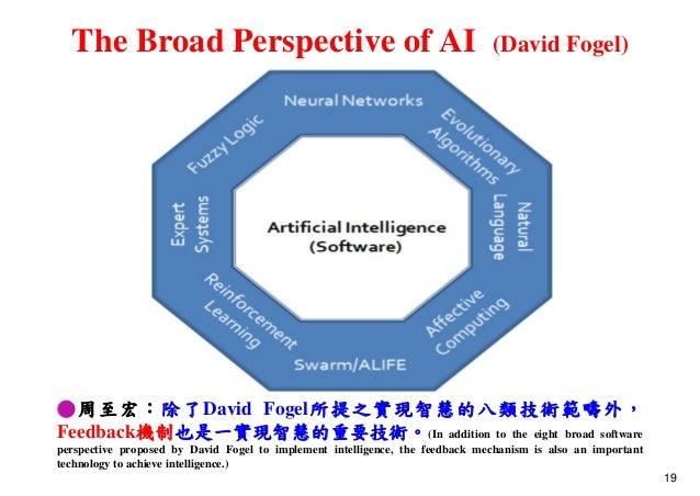 The Broad Perspective of AI (David Fogel) ●周至宏:除了David Fogel所提之實現智慧的八類技術範疇外, Feedback機制也是一實現智慧的重要技術。(In addition to the ei...