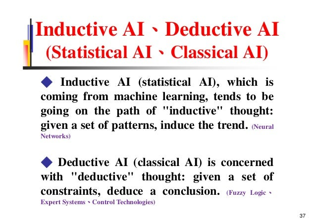 Inductive AI、Deductive AI (Statistical AI、Classical AI) ◆ Inductive AI (statistical AI), which is coming from machine lear...