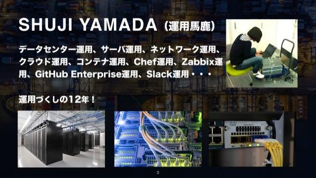 データセンター運用、サーバ運用、ネットワーク運用、 クラウド運用、コンテナ運用、Chef運用、Zabbix運 用、GitHub Enterprise運用、Slack運用・・・ 3 運用づくしの12年! (運用馬鹿)SHUJI YAMADA