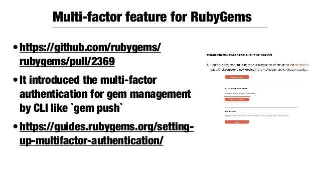 •https://github.com/rubygems/rubygems/ pull/2308 •https://github.com/rubygems/rubygems/ pull/2023 introduces `gem info` co...