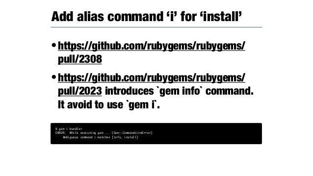 •BundlerVersionFinder was introduced at RubyGems 2.7 •It ability is the version detection by RubyGems with Gemfile.lock str...