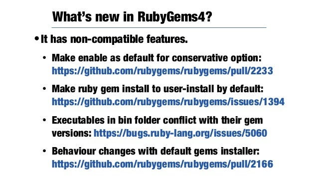 •The vendoring tool of Ruby. •RubyGems couldn't care dependency of Ruby libraries and isolate version managing with ruby p...