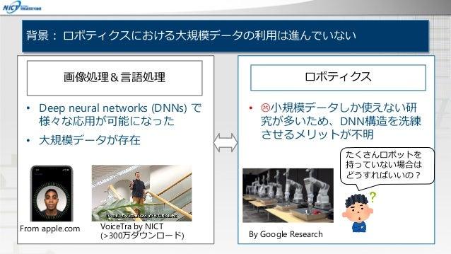 背景: ロボティクスにおける大規模データの利用は進んでいない • Deep neural networks (DNNs) で 様々な応用が可能になった • 大規模データが存在 From apple.com VoiceTra by NICT (>...