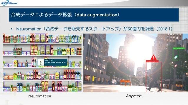 合成データによるデータ拡張(data augmentation) • Neuromation(合成データを販売するスタートアップ)が60億円を調達(2018.1) Neuromation Anyverse