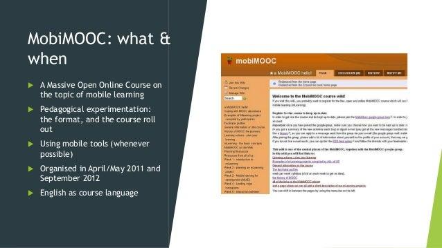 MobiMOOC design of a community MOOC Slide 3