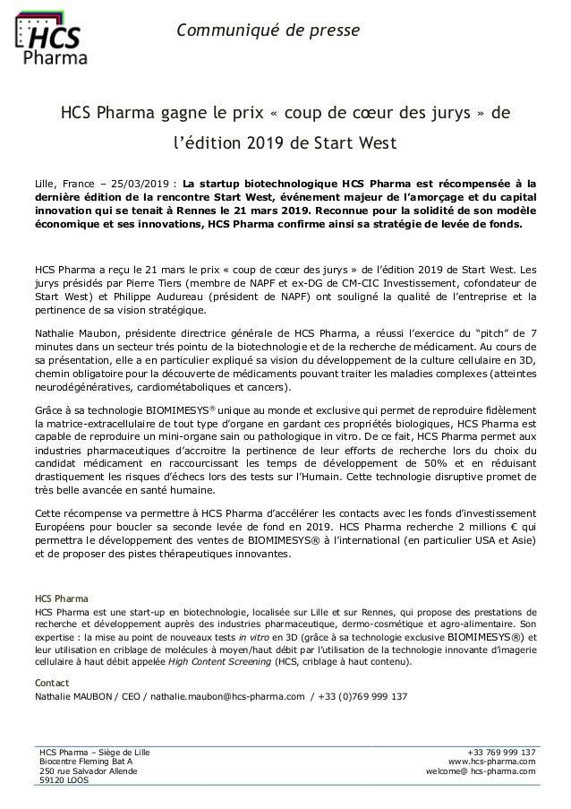 Communiqué de presse HCS Pharma – Siège de Lille Biocentre Fleming Bat A 250 rue Salvador Allende 59120 LOOS +33 769 999 1...