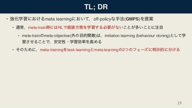 TL; DR • meta learning off-policy (GMPS) • meta-train RL • meta-train meta-objective( ) imitation learning (behaviour clon...