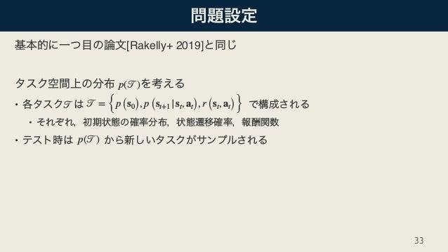 [Rakelly+ 2019] • • • 33 p(𝒯) 𝒯 𝒯 = {p (s0), p (st+1 |st, at), r (st, at)} p(𝒯)