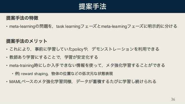 • meta-learning task learning meta-learning • policy • • meta-training • ) reward shaping • MAML 36