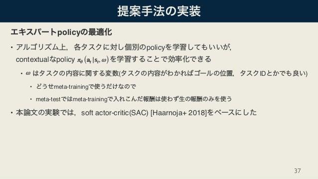 policy • policy  contextual policy • ( ID ) • meta-training • meta-test meta-training • soft actor-critic(SAC) [Haarnoja+...