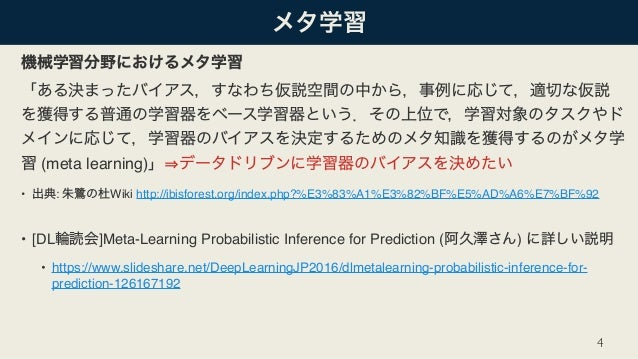 (meta learning) • : Wiki http://ibisforest.org/index.php?%E3%83%A1%E3%82%BF%E5%AD%A6%E7%BF%92 • [DL ]Meta-Learning Probab...