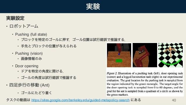 • • Pushing (full state) • • • Pushing (vision) • • Door opening • • • (Ant) • https://sites.google.com/berkeley.edu/guide...