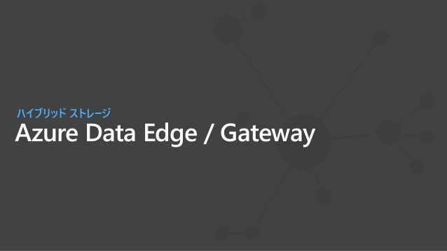 Azure Data Box Gatewayを活用したBlobへのデータ転送 Azure Storage blob, page, file オンプレミス データ SMB/NFS 共有 ストレージ ゲートウェイ Data Box Edge Dat...