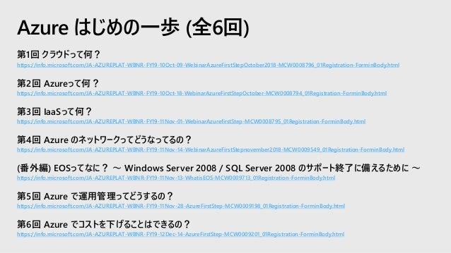第1回 SLA を軸にした Azure 高可用性設計とは https://info.microsoft.com/JA-AzureINFRA-WBNR-FY19-11Nov-08-AzureComputing- MCW0009127_01Regi...