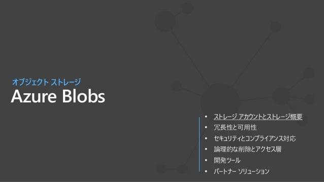 Blob Storageは、Azure Servicesの中心 Azure's Object Storage platform 非構造化データの保存と提供 • アプリとWebスケールのデータ • バックアップとアーカイブ • IoTやゲノムなど...