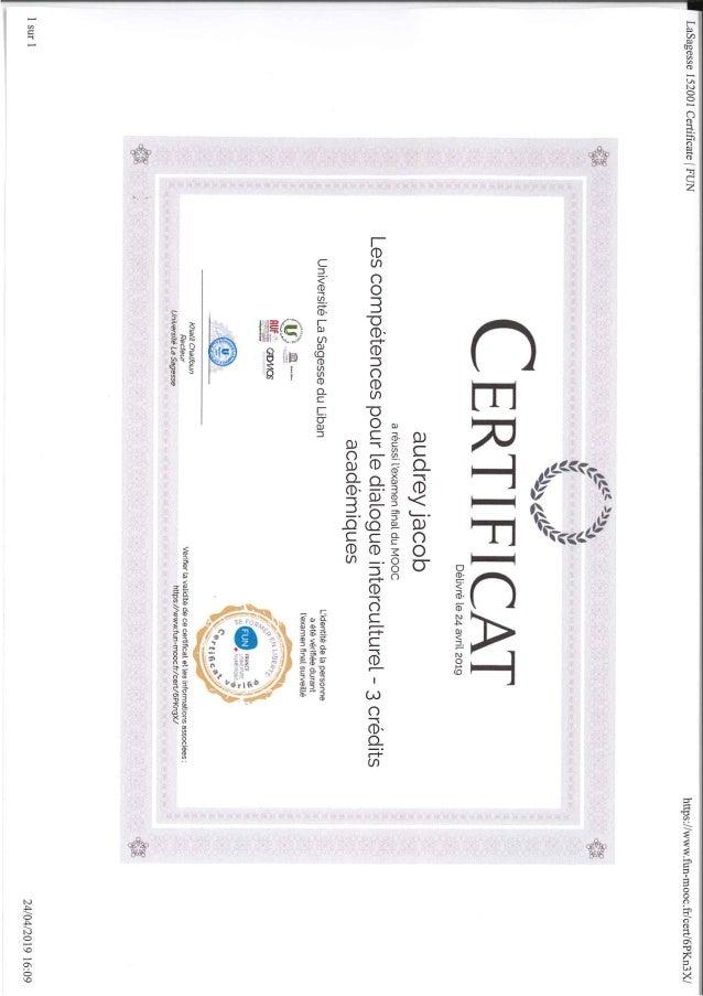 Les Compétences pour le dialogue interculturel - Obtention du Certificat