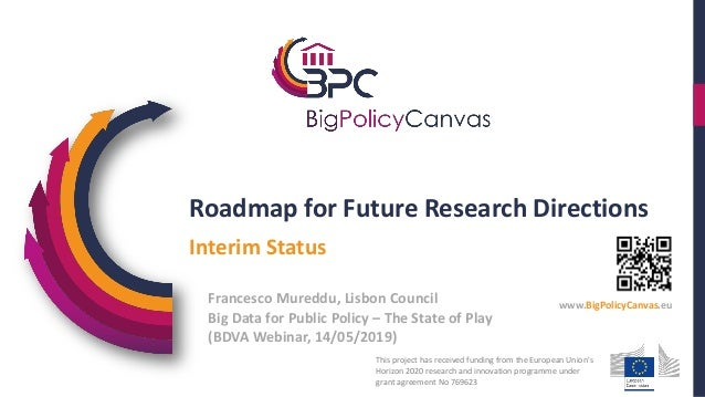 Roadmap for Future Research Directions Big Data for Public Policy – The State of Play (BDVA Webinar, 14/05/2019) Interim S...