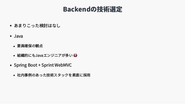 Backendの技術選定 • あまりこった検討はなし • Java • 要員確保の観点 • 組織的にもJavaエンジニアが多い 🙆 • Spring Boot + Sprint WebMVC • 社内事例のあった技術スタックを素直に採⽤