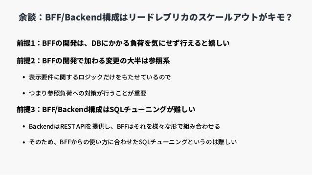前提1:BFFの開発は、DBにかかる負荷を気にせず⾏えると嬉しい 前提2:BFFの開発で加わる変更の⼤半は参照系 • 表⽰要件に関するロジックだけをもたせているので • つまり参照負荷への対策が⾏うことが重要 前提3:BFF/Backend構成...