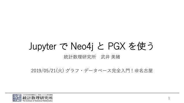 Jupyter で Neo4j と PGX を使う 統計数理研究所 武井 美緒 2019/05/21(火) グラフ・データベース完全入門!@名古屋 1