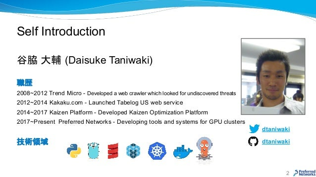 Self Introduction 谷脇 大輔 (Daisuke Taniwaki) 職歴 2008~2012 Trend Micro - Developed a web crawler which looked for undiscovere...