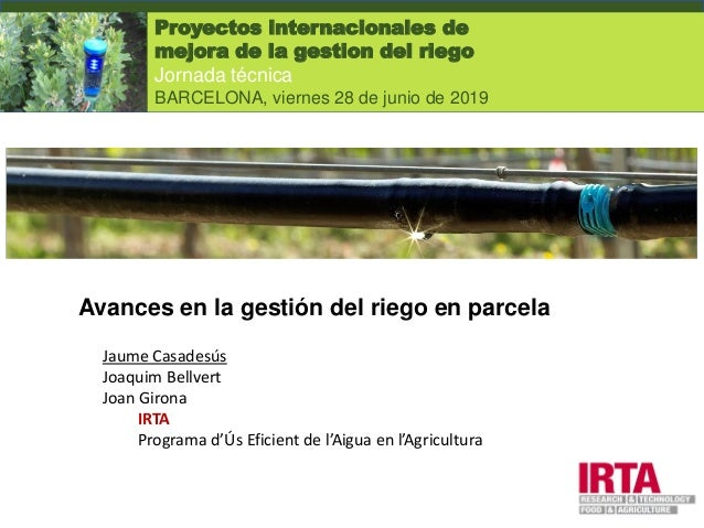 Avances en la gestión del riego en parcela Jaume Casadesús Joaquim Bellvert Joan Girona IRTA Programa d'Ús Eficient de l'A...