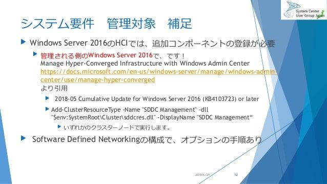 システム要件 管理対象 補足  Windows Server 2016のHCIでは、追加コンポーネントの登録が必要  管理される側のWindows Server 2016で、です! Manage Hyper-Converged Infras...