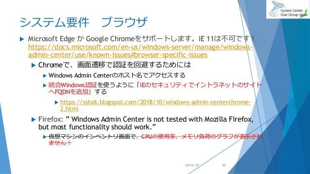 システム要件 ブラウザ  Microsoft Edge か Google Chromeをサポートします。IE 11は不可です! https://docs.microsoft.com/en-us/windows-server/manage/wi...