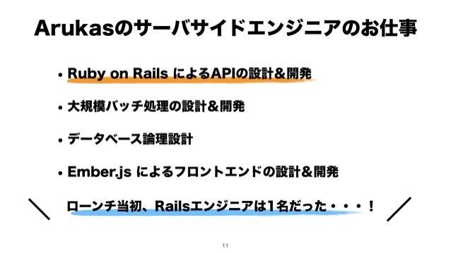 ローンチ当初、Railsエンジニアは1名だった・・・! Arukasのサーバサイドエンジニアのお仕事 • Ruby on Rails によるAPIの設計&開発 • 大規模バッチ処理の設計&開発 • データベース論理設計 • Ember.js に...