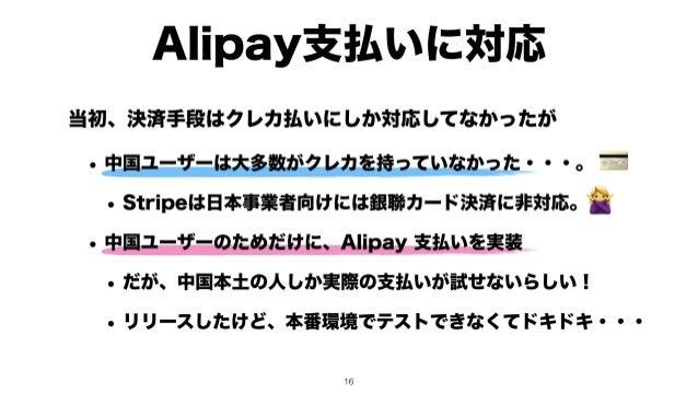 Alipay支払いに対応 💳 🙅 当初、決済手段はクレカ払いにしか対応してなかったが • 中国ユーザーは大多数がクレカを持っていなかった・・・。 • Stripeは日本事業者向けには銀聯カード決済に非対応。 • 中国ユーザーのためだけに、Ali...