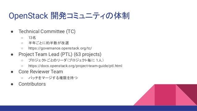 OpenStack 開発コミュニティの体制 ● Technical Committee (TC) ○ 13名 ○ 半年ごとに約半数が改選 ○ https://governance.openstack.org/tc/ ● Project Team...
