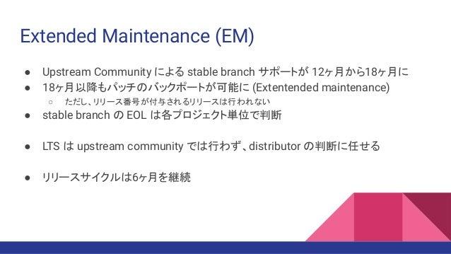 Extended Maintenance (EM) ● Upstream Community による stable branch サポートが 12ヶ月から18ヶ月に ● 18ヶ月以降もパッチのバックポートが可能に (Extentended ma...