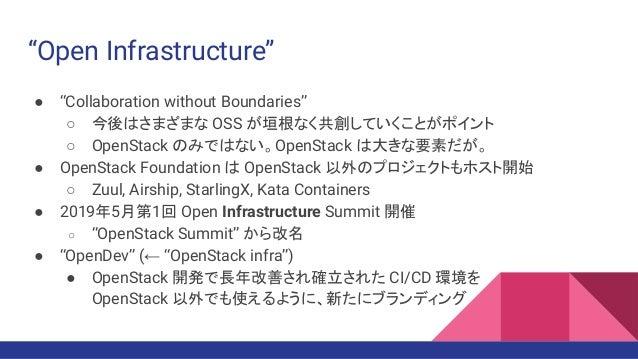 """Open Infrastructure"" ● ""Collaboration without Boundaries"" ○ 今後はさまざまな OSS が垣根なく共創していくことがポイント ○ OpenStack のみではない。OpenStack ..."